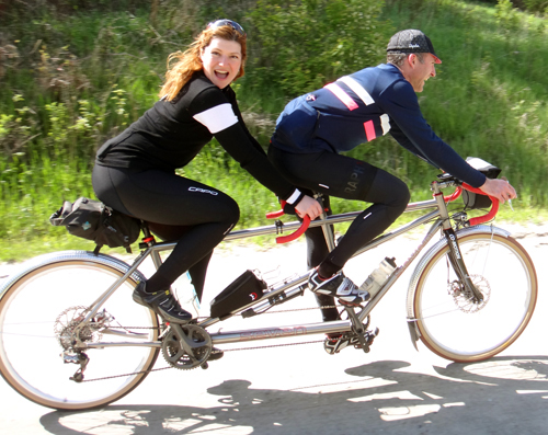 Photo: A couple ride a tandem bike at Busse Woods Forest Preserve. Riding a tandem bicycle successfully takes communication and compromise.(lovelybike.blogspot.com.)